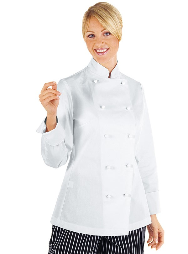 veste femme chef cuisinier blanc 100 coton ebay. Black Bedroom Furniture Sets. Home Design Ideas