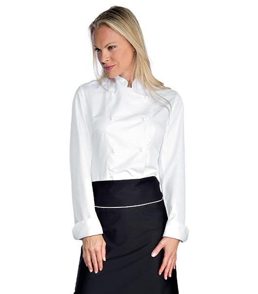 veste chef cuisinier femme blanc microfibres vestes de cuisine femme. Black Bedroom Furniture Sets. Home Design Ideas
