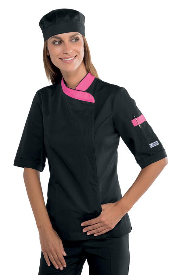 veste de cuisine femme manches courtes noire et rose vestes de cuisine femme. Black Bedroom Furniture Sets. Home Design Ideas
