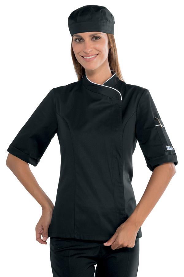 Veste cuisine femme manches courtes noire et blanche for Veste de cuisine manche courte