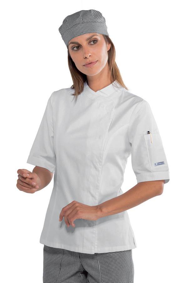 Veste blanche de cuisine femme manches courtes 100 coton for Veste de cuisine manche courte