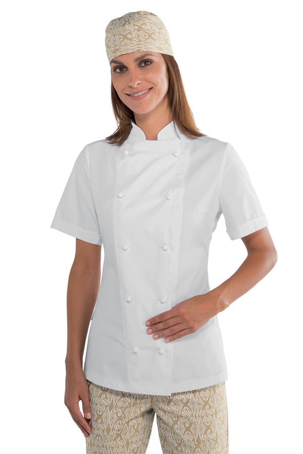 veste de cuisine blanche pour femme tissu extra l ger vestes de cuisine femme. Black Bedroom Furniture Sets. Home Design Ideas