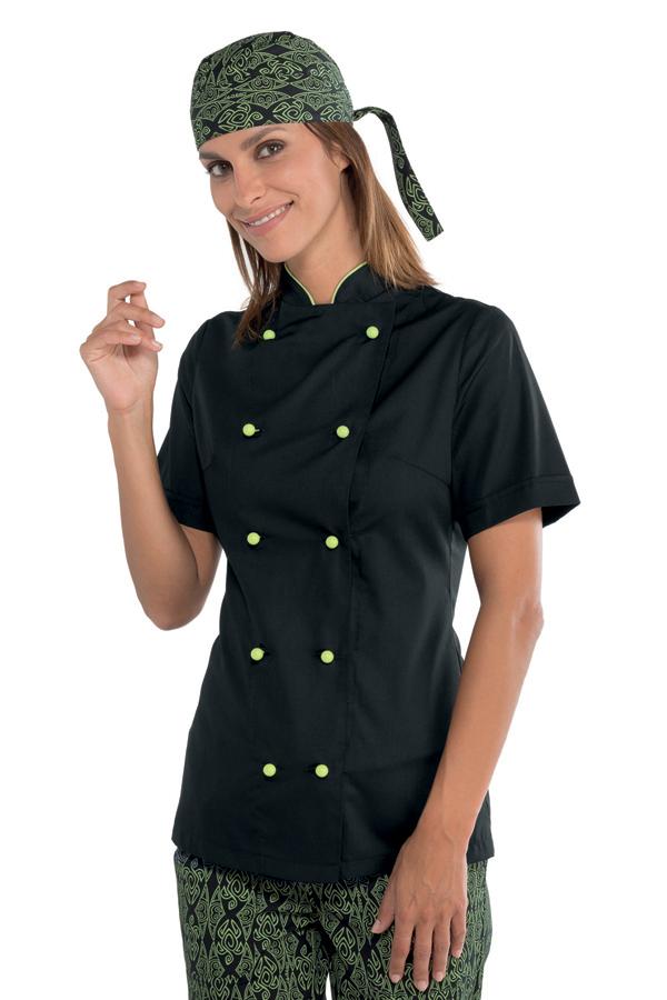 veste de cuisine noire pour femme tissu extra l ger vestes de cuisine femme. Black Bedroom Furniture Sets. Home Design Ideas