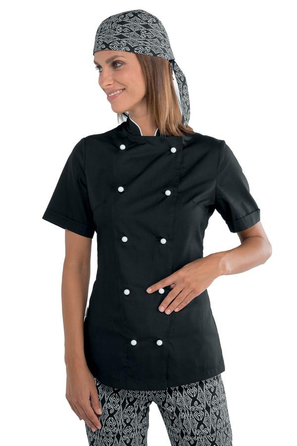 veste de cuisine noire et blanche pour femme tissu extra l ger vestes de cuisine femme. Black Bedroom Furniture Sets. Home Design Ideas
