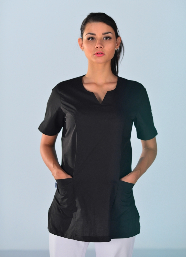 tunique m dicale noire alice blouses m dicales mylookpro. Black Bedroom Furniture Sets. Home Design Ideas
