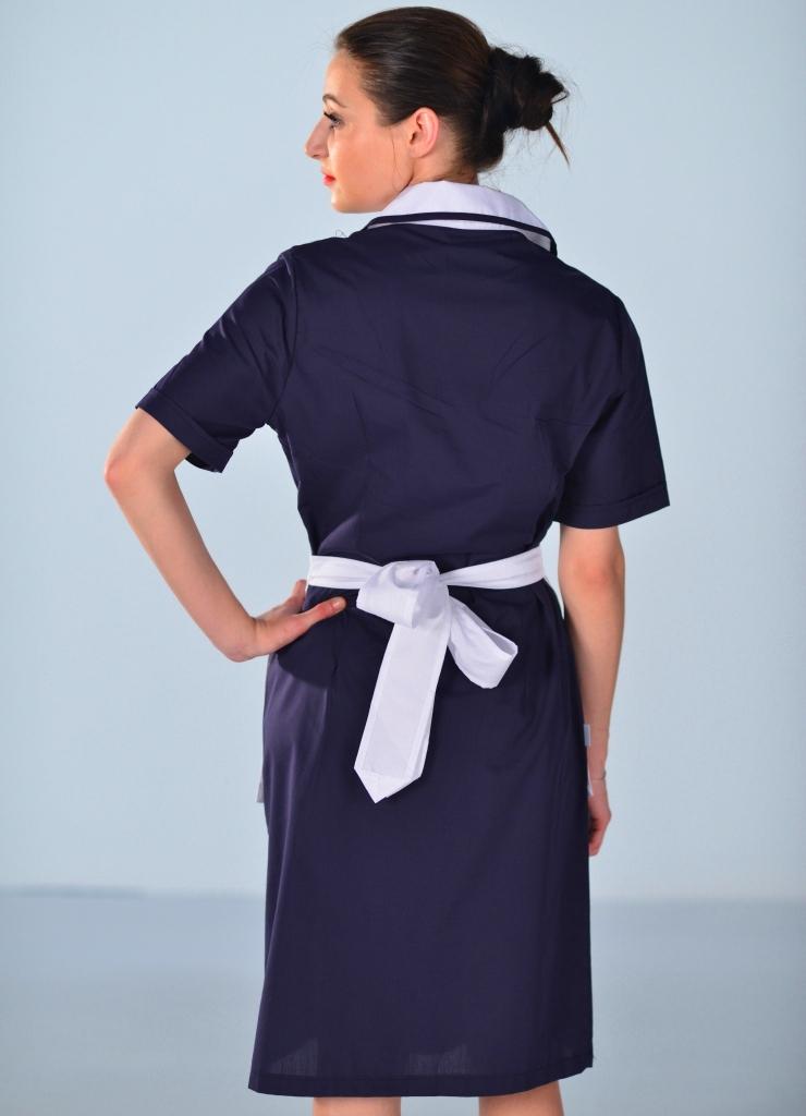 blouse femme de chambre manches courtes bleu nuit carlton. Black Bedroom Furniture Sets. Home Design Ideas