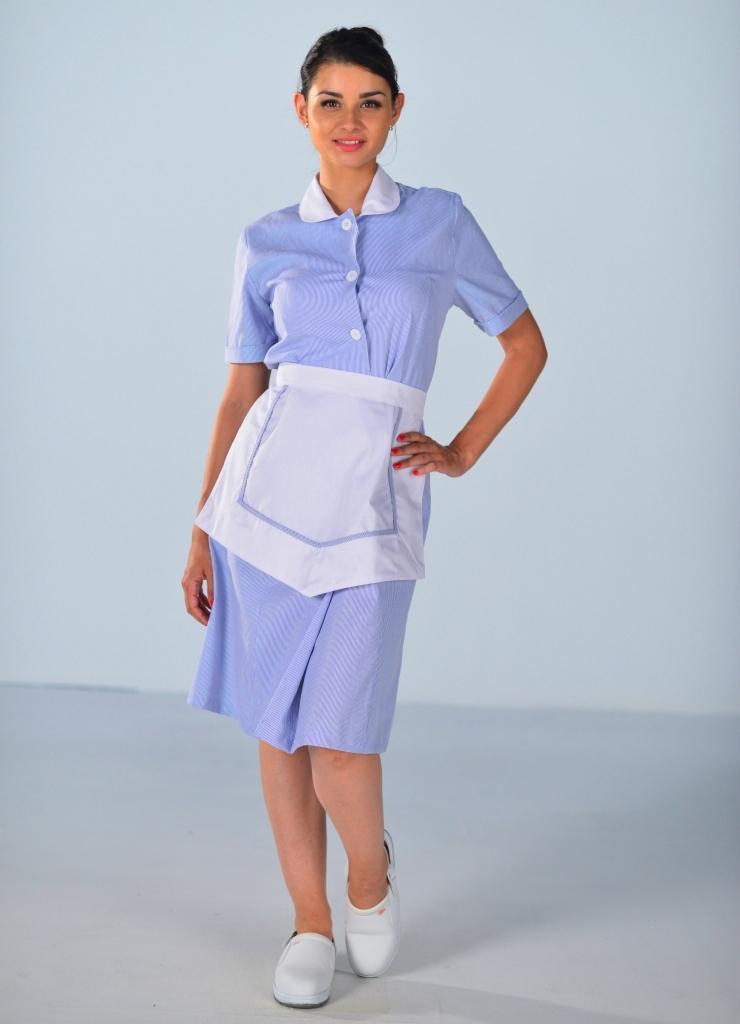 blouse femme de chambre manches courtes bleu ciel carlton. Black Bedroom Furniture Sets. Home Design Ideas