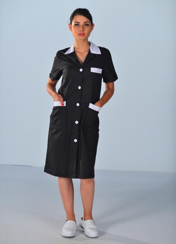 blouse de travail noire pour femme blouses femme de chambre. Black Bedroom Furniture Sets. Home Design Ideas