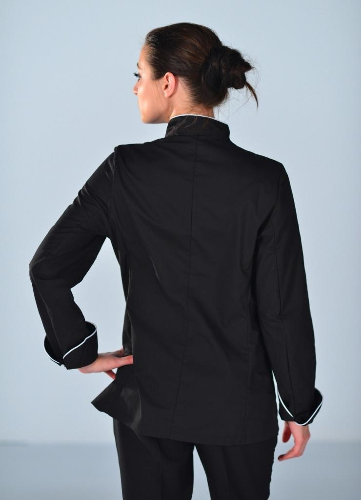 veste de cuisine noire et blanche pour femme vestes de cuisine. Black Bedroom Furniture Sets. Home Design Ideas