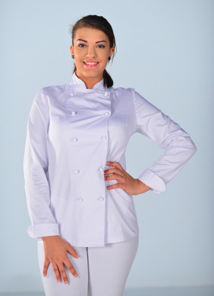 veste de cuisine femme 100 coton white look v tements de cuisine. Black Bedroom Furniture Sets. Home Design Ideas