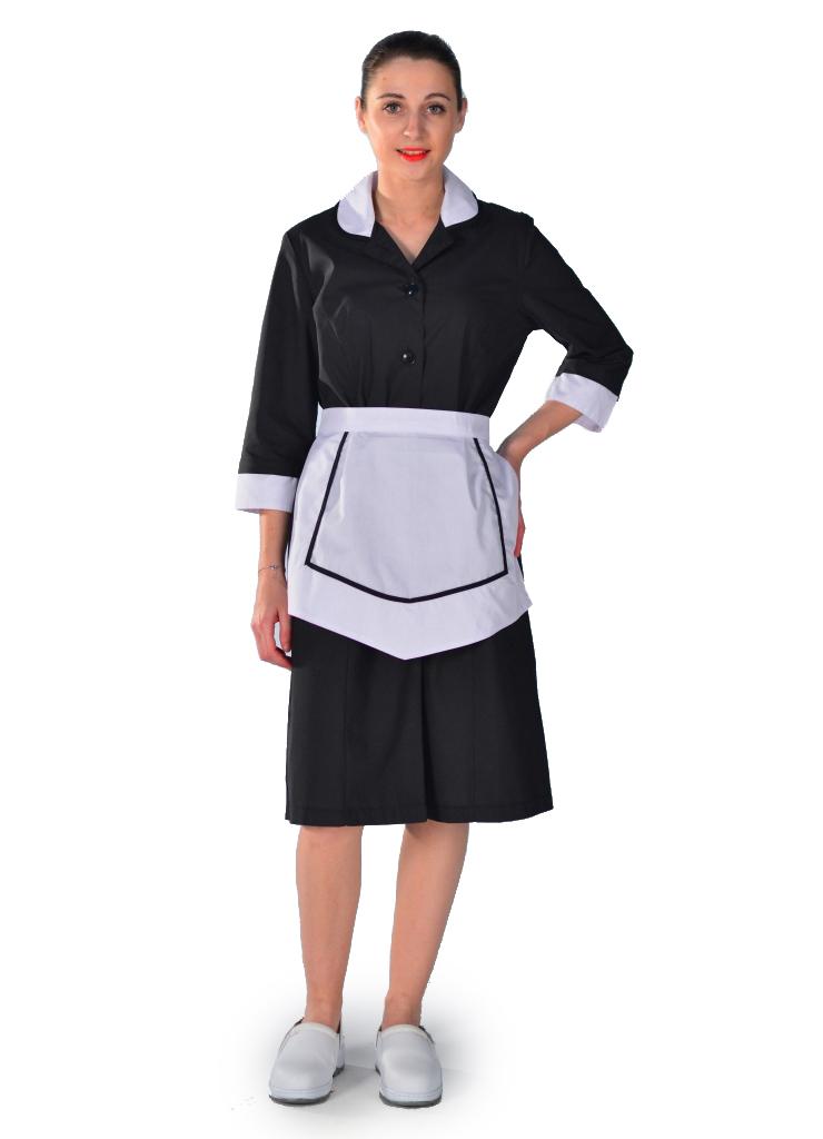 Blouse femme de chambre noire carlton hotellerie service d 39 tage - Robe de chambre femme leclerc ...