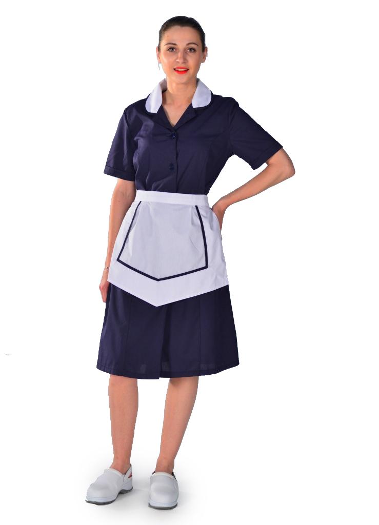 Blouse femme de chambre manches courtes bleu nuit carlton - Femmes de chambre synonyme ...