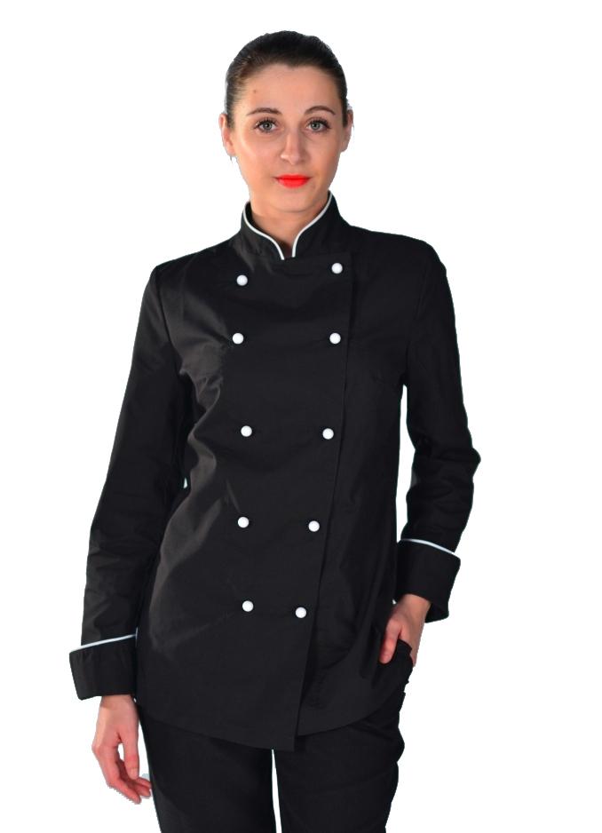 b63d14cad Veste de cuisine noire et blanche pour Femme
