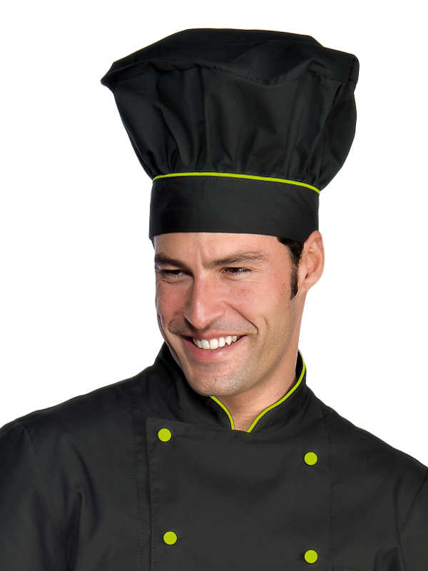 Toque de chef cuisinier noir finition vert pomme toque de - Image toque cuisinier ...
