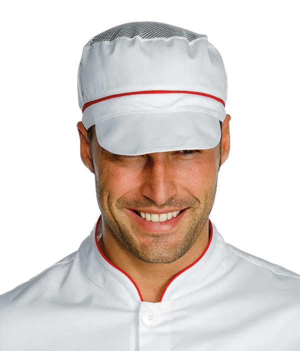 Casquette blanche de cuisine charly avec filet et finition for Cuisinier 71