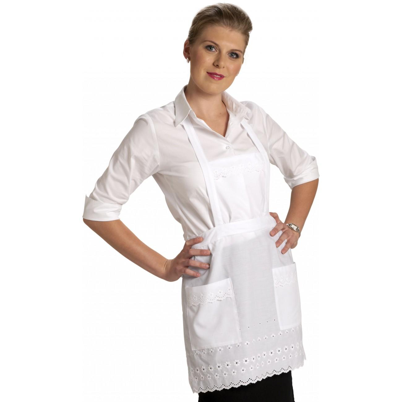 Tablier blanc a bavette grand h tel bavette tablier femme de chambre - Tablier de cuisine rigolo femme ...