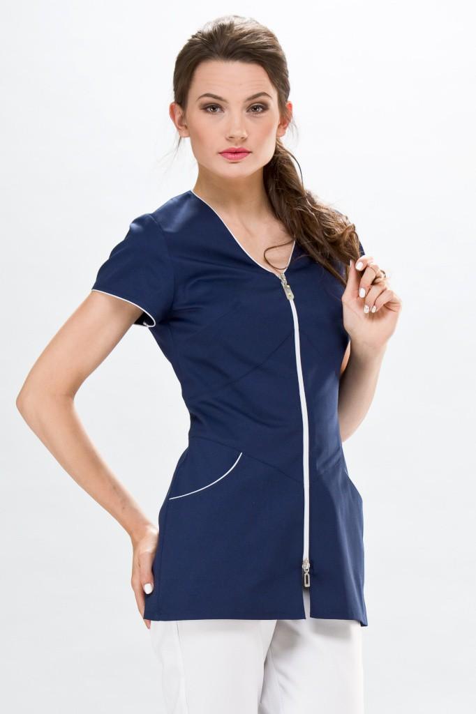 Tunique m dicale lily couture bleu blanche blouse m dicale collection couture - Model tablier de cuisine ...