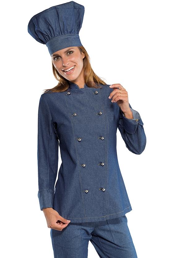 veste de cuisine en jeans pour femme v tements de cuisine. Black Bedroom Furniture Sets. Home Design Ideas