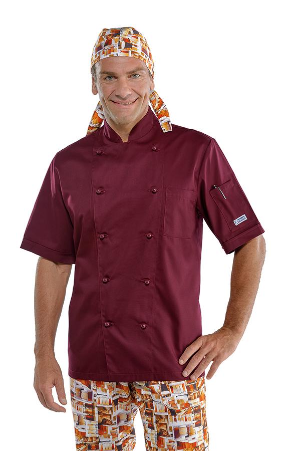 Affordable elegant veste de cuisine bordeaux manches for Cuisine couleur bordeaux brillant