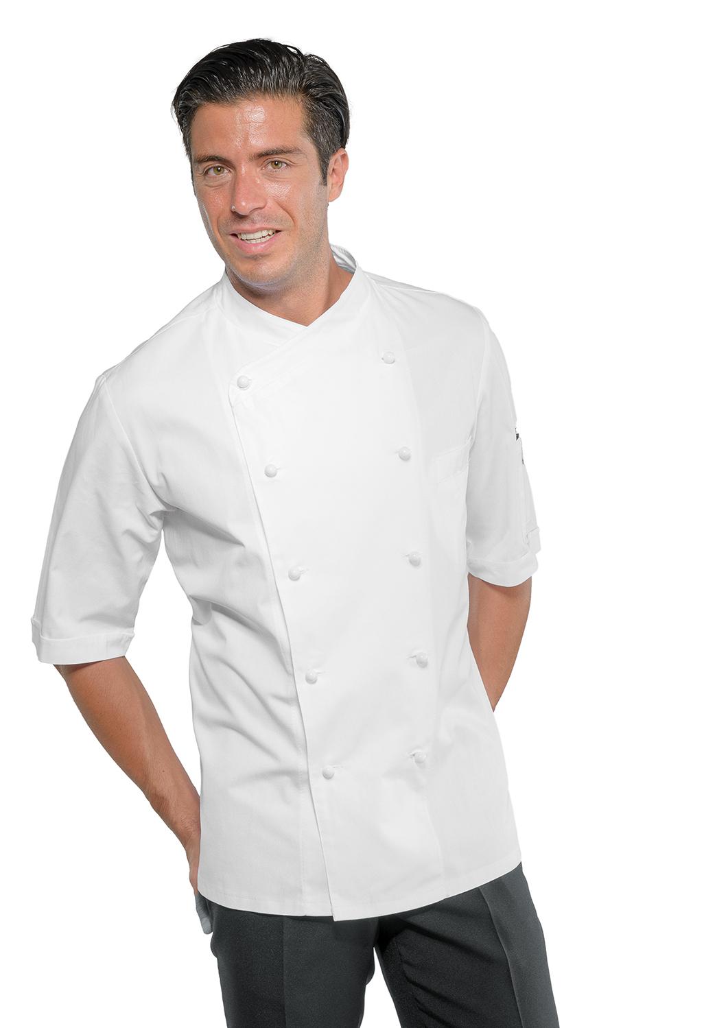 Veste blanche chef cuisine manches courtes v tements de for Veste de cuisine manche courte