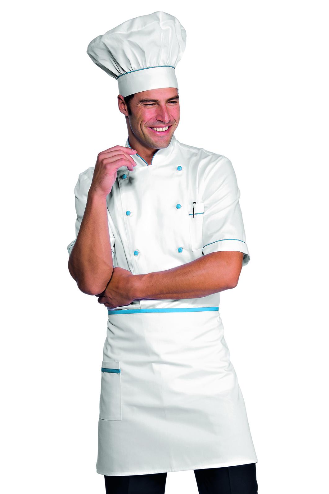 tablier de cuisine taille cm 70x46 avec poches blanc turquoise tabliers de cuisine. Black Bedroom Furniture Sets. Home Design Ideas