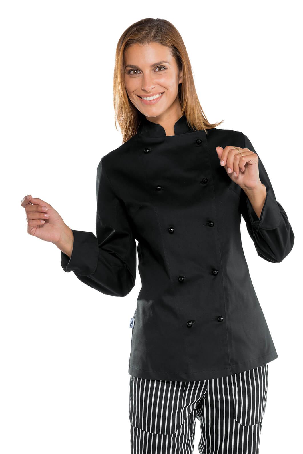 veste noire de cuisine stretch pour femme vestes de cuisine femme. Black Bedroom Furniture Sets. Home Design Ideas