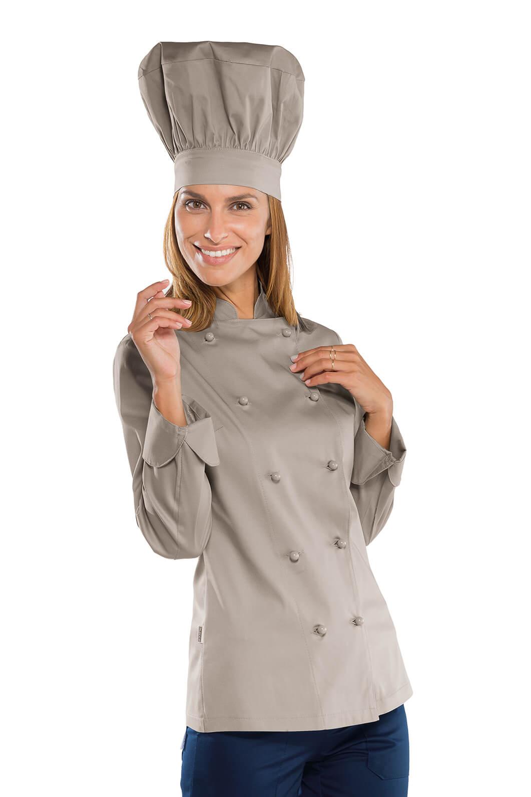 Veste cuisine Lady Chef grise Vêtement de cuisine Mylookpro