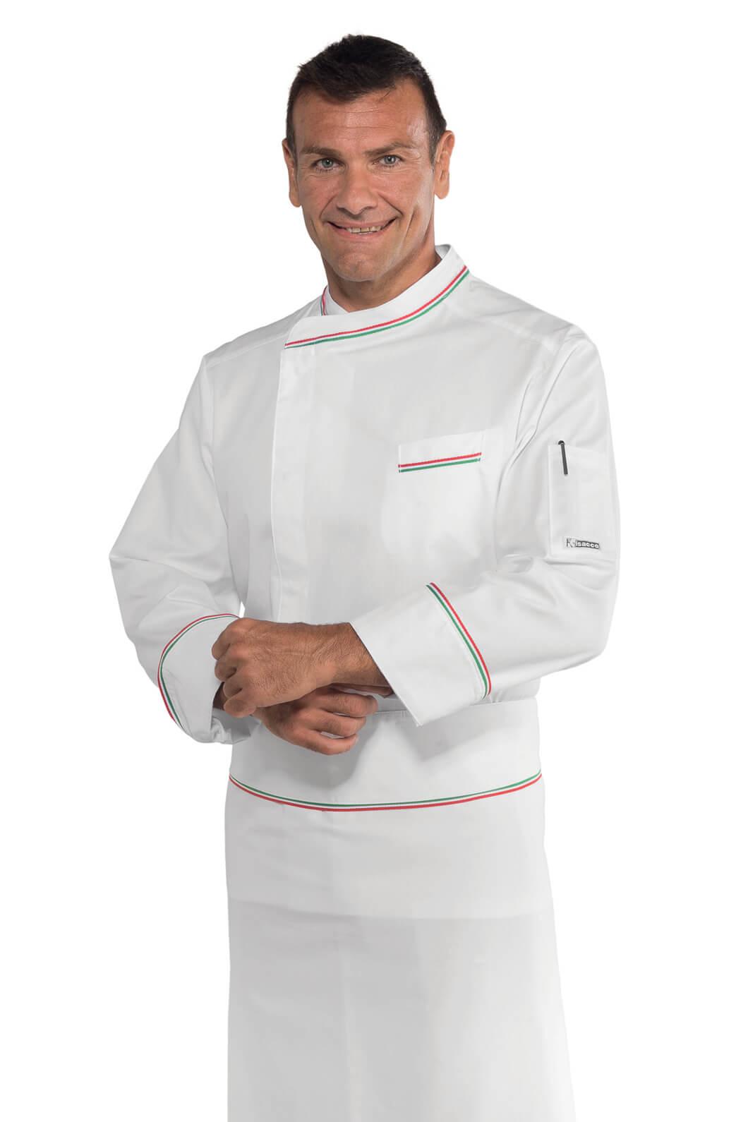 Veste blanche de cuisine italienne 100 coton vestes de for Veste de cuisine