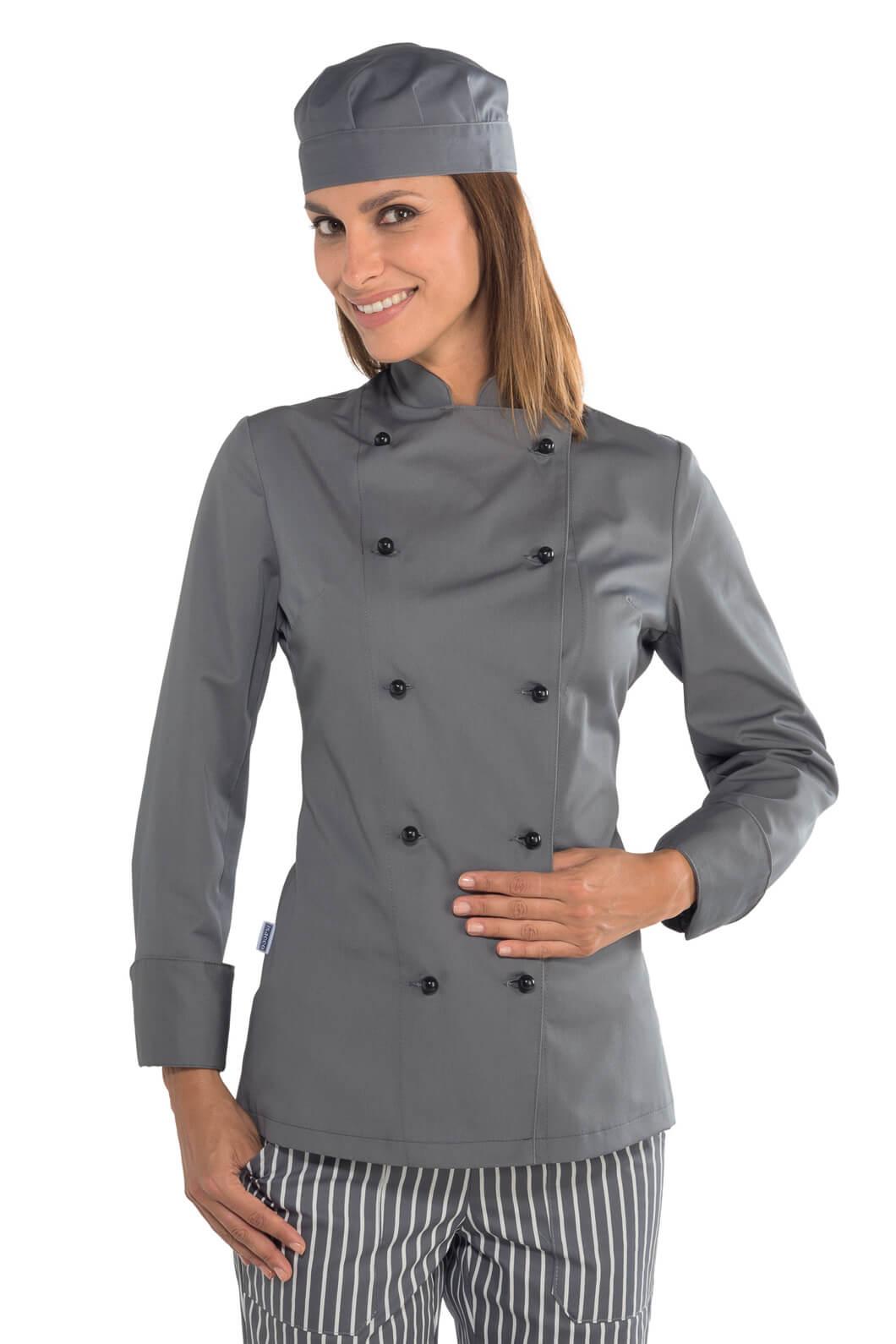 Mylookpro Grise Lady Cuisine Vêtement De Chef Veste wqaSgxYY