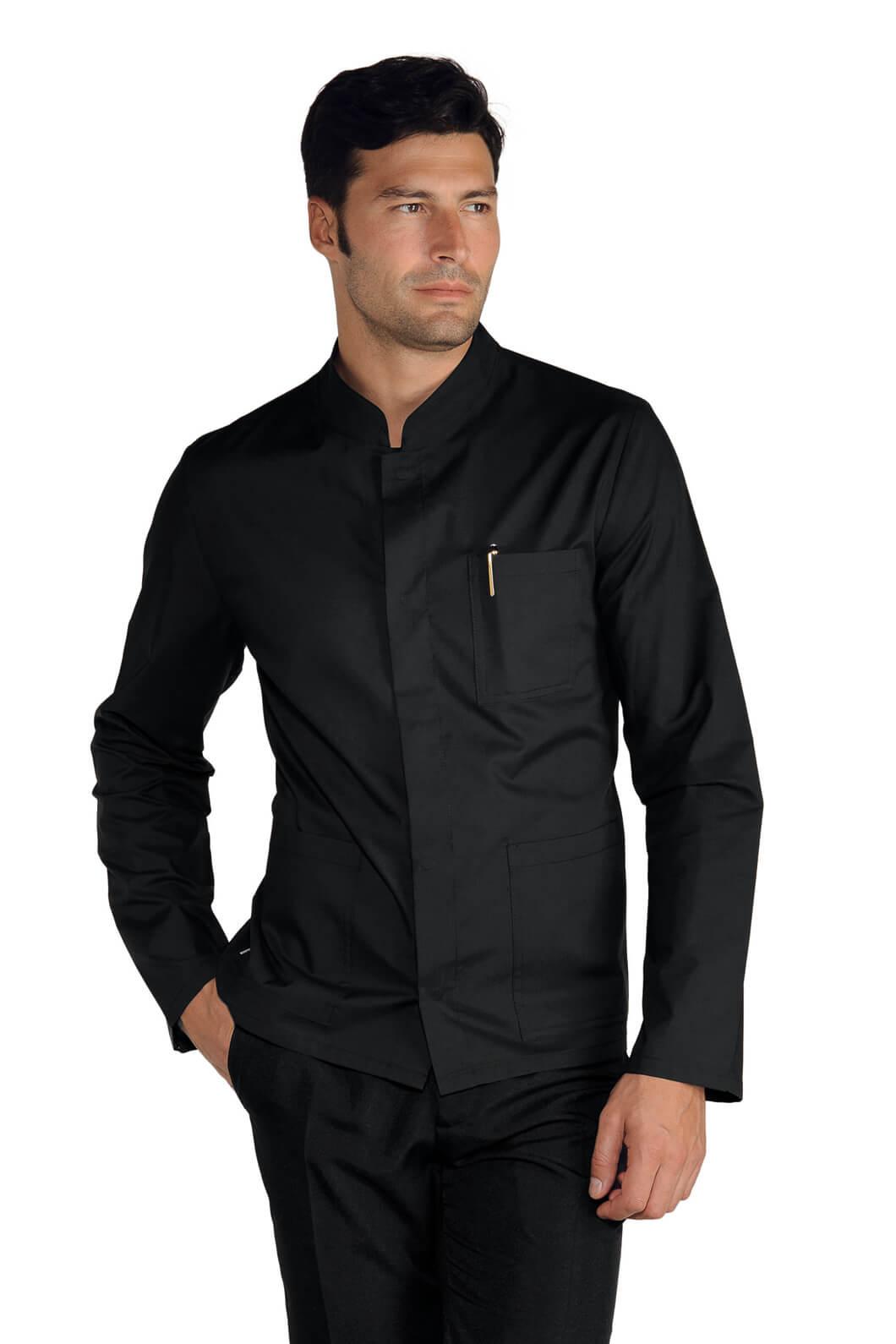 Veste Homme Légé Noir Col Tissu Mao Coreana 35RLcjq4A