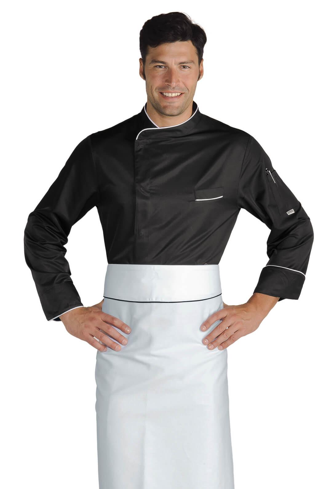 Veste chef cuisinier bilbao noir blanc microfibres for Cuisinier 71