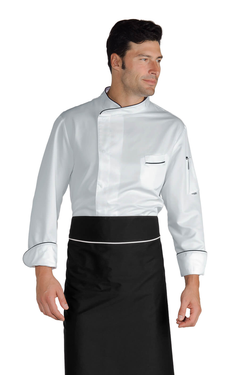 Veste chef cuisinier bilbao blanc noir microfibres for Cuisinier particulier