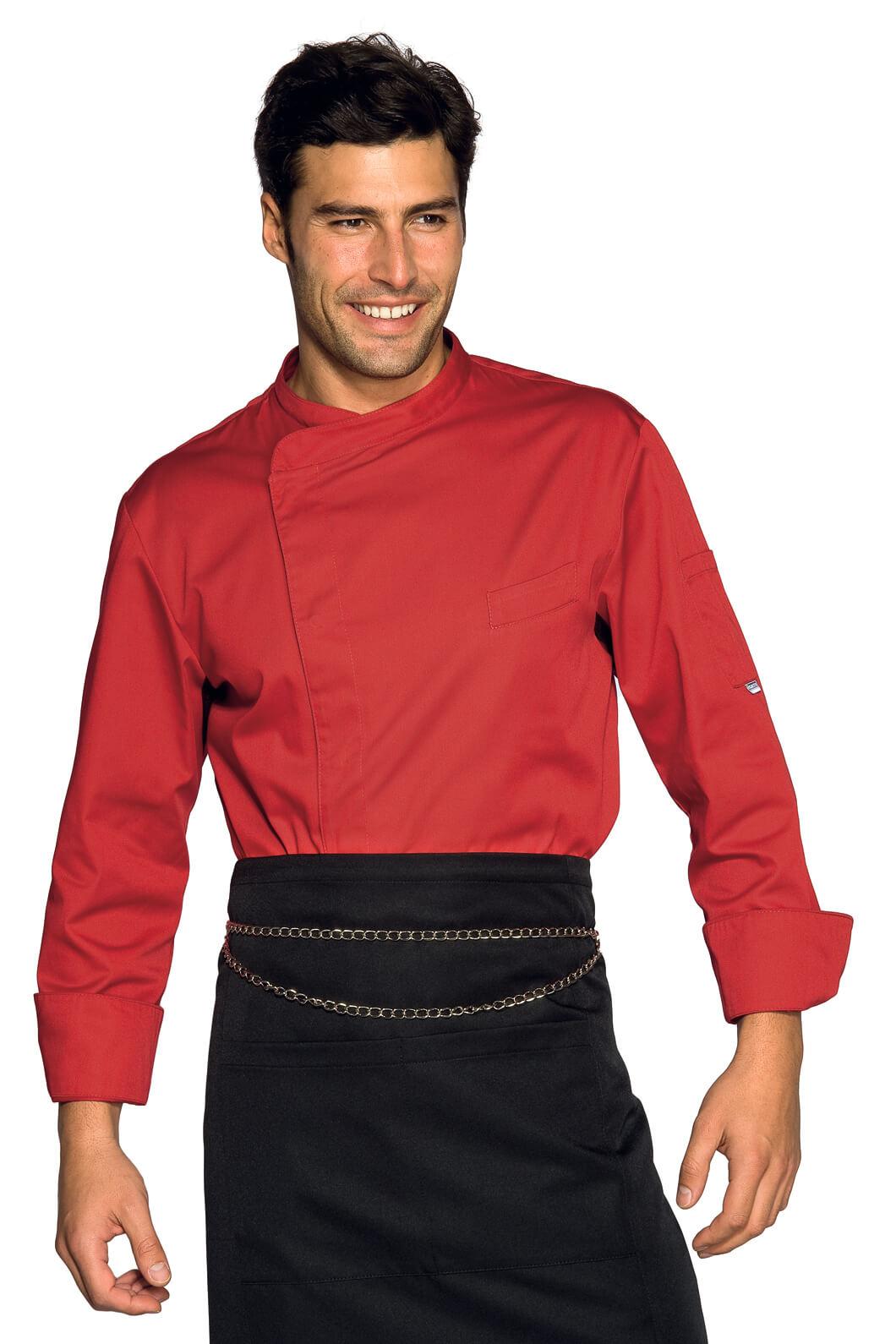 Veste chef cuisinier bilbao rouge for Cuisinier particulier