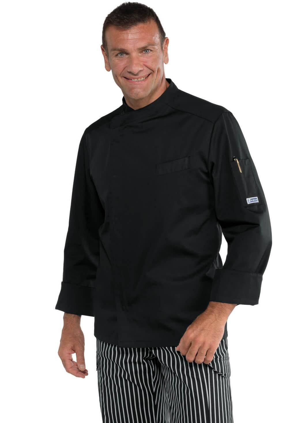 Veste cuisinier bilbao noir polycoton for Cuisinier 68