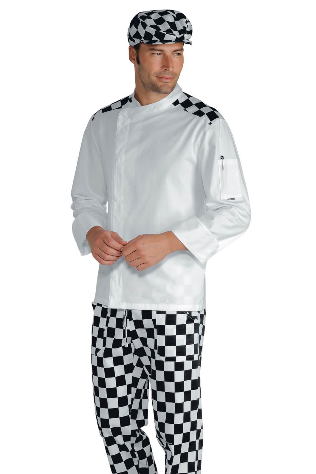 Veste chef cuisinier malaga blanc scacco 100 coton for Cuisinier particulier