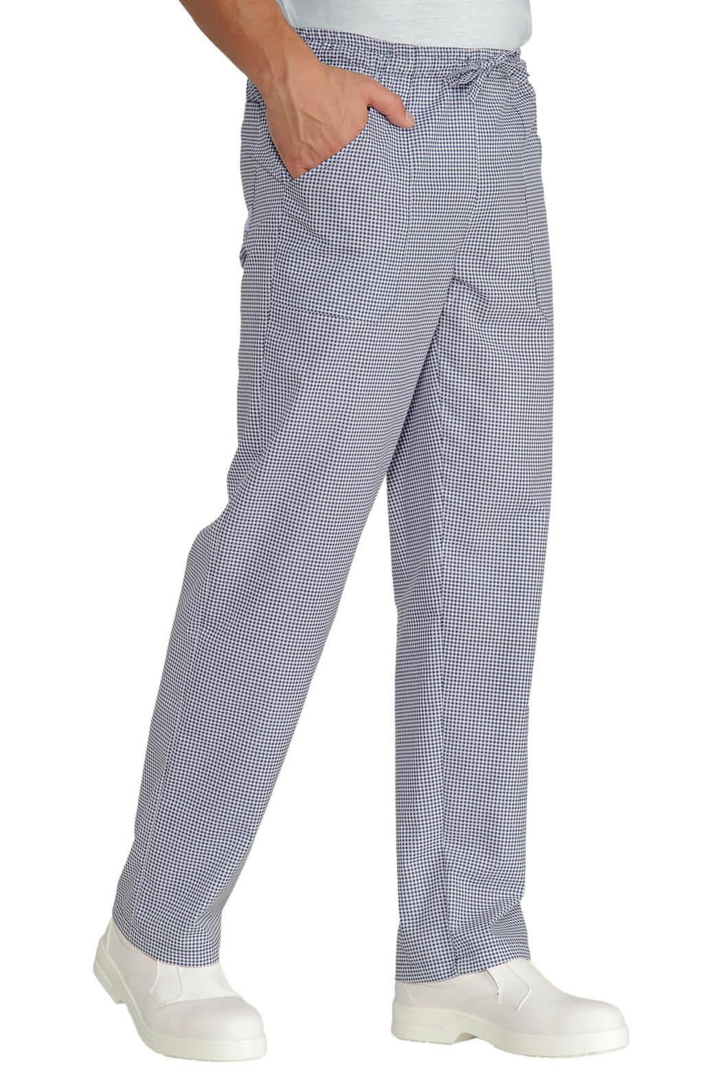Pantalon cuisinier pied de poule blanc bleu for Cuisinier 71