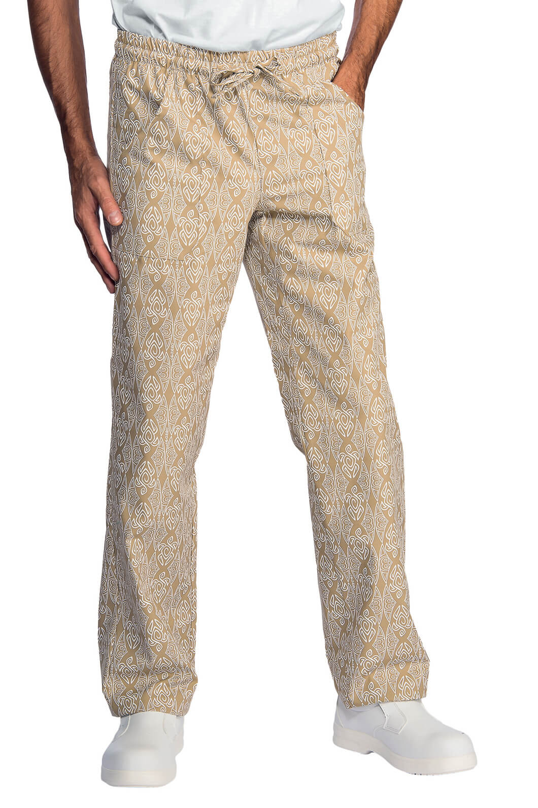 Pantalon cuisinier biscuit blanc pantalons de cuisine for Cuisinier particulier