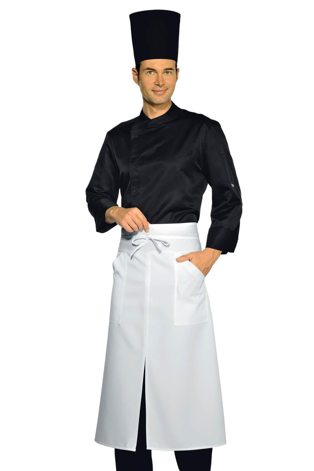 Veste chef cuisinier malaga noire microfibres vestes de for Cuisinier particulier