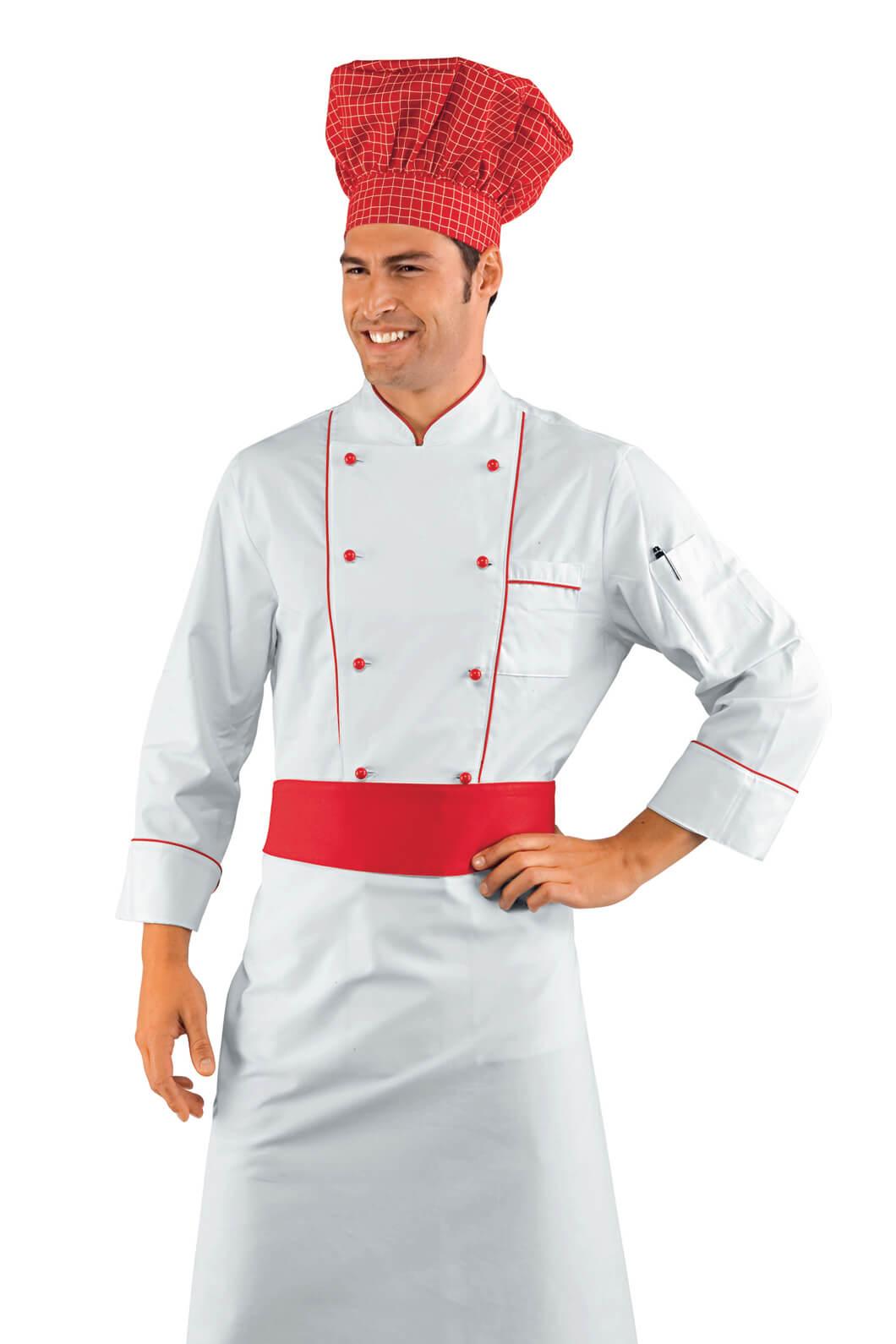 Veste chef cuisinier blanc et rouge for Cuisinier particulier