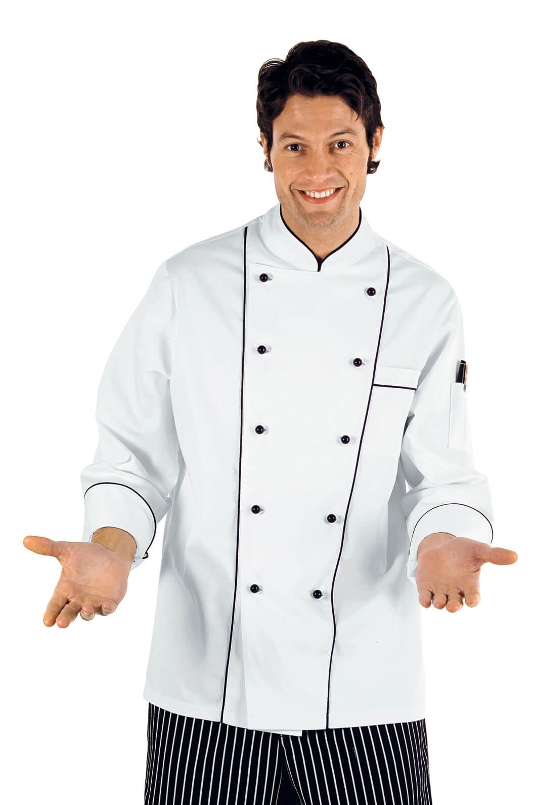 veste de chef cuisinier boutons blanc noir vestes de cuisine veste de cuisine prestige. Black Bedroom Furniture Sets. Home Design Ideas