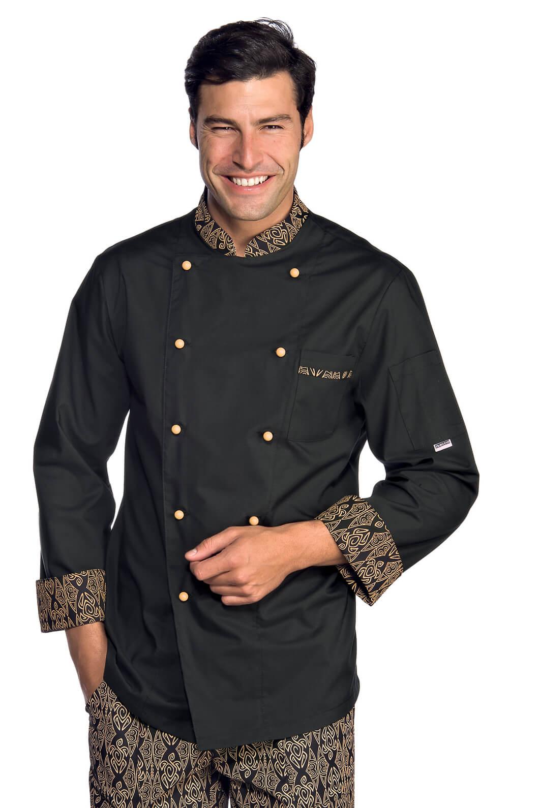 Veste chef cuisinier extralight noir biscuit vestes de for Cuisinier extra