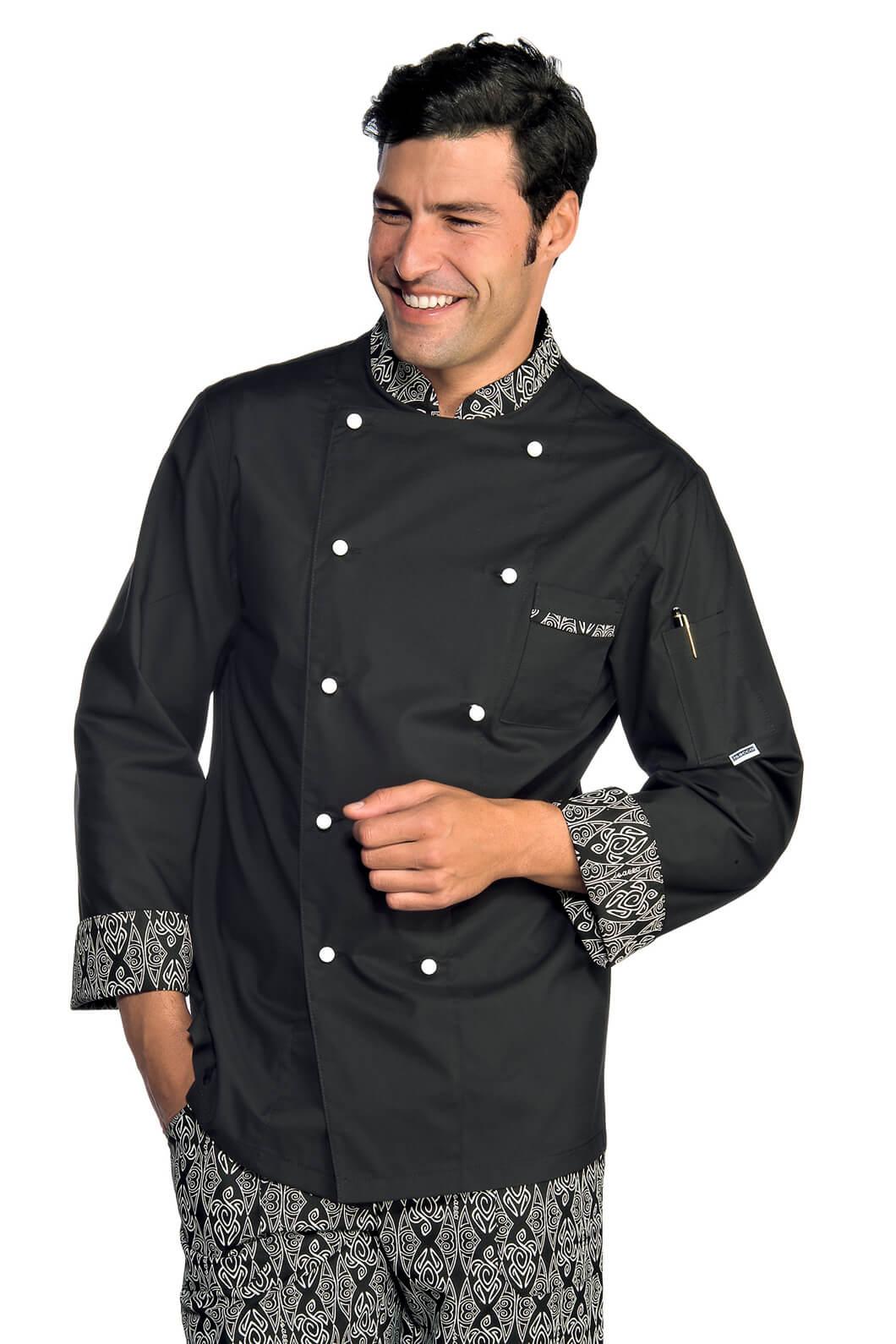Veste chef cuisinier extralight noir blanc vestes de for Cuisinier extra