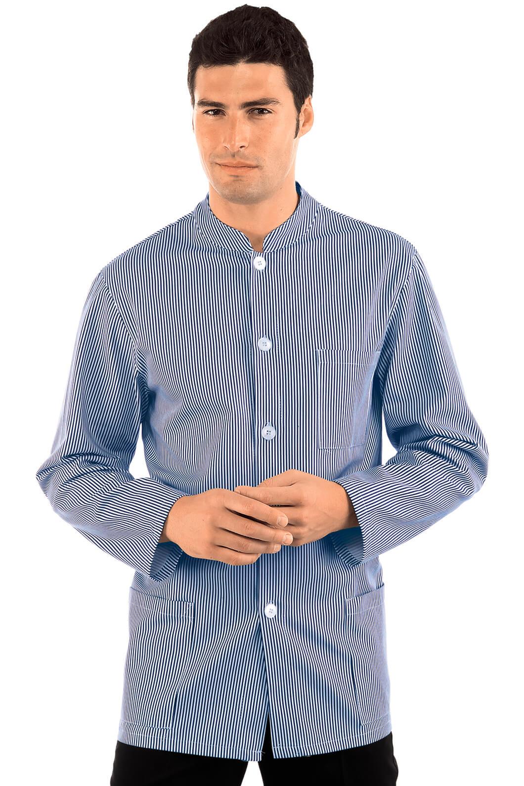 veste homme col mao coreana blanc ray bleu 100 coton. Black Bedroom Furniture Sets. Home Design Ideas