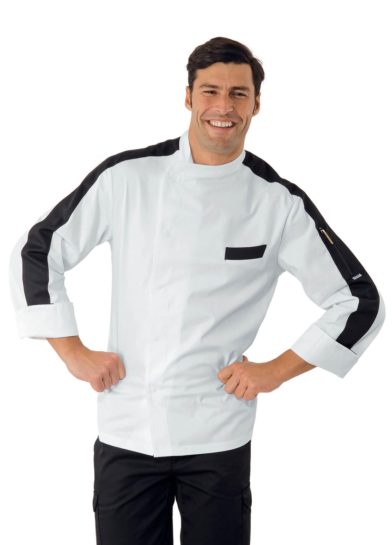 veste chef cuisinier manhattan blanc et noir 100 coton. Black Bedroom Furniture Sets. Home Design Ideas