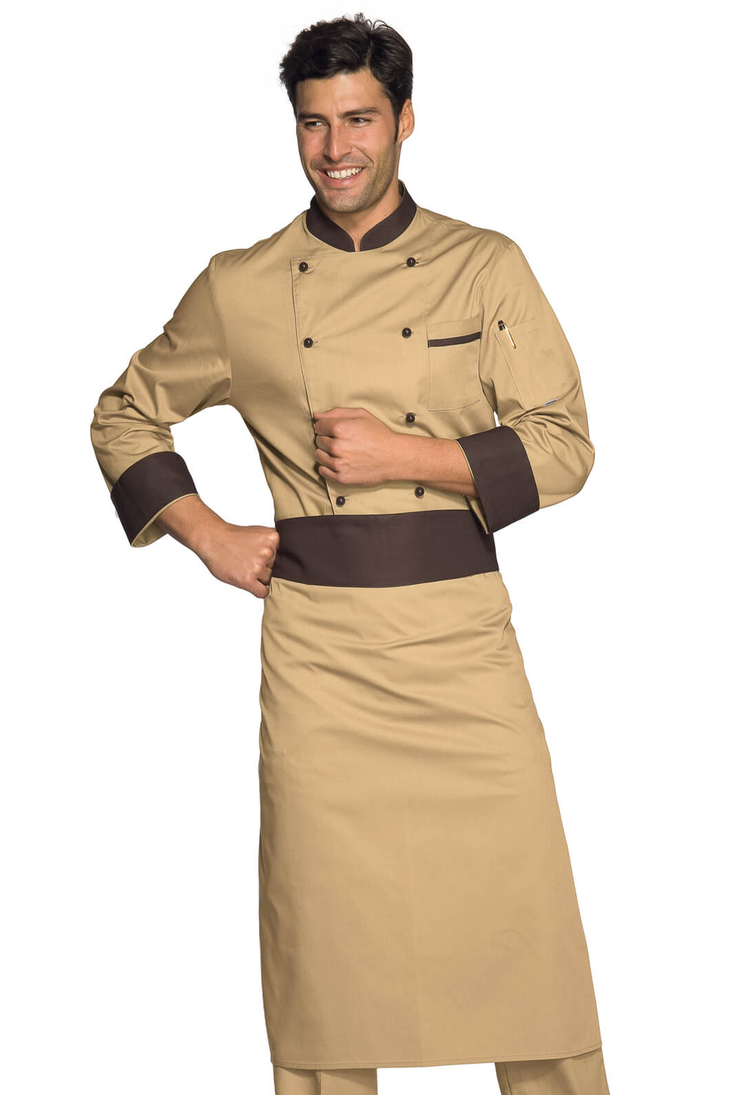 Veste chef cuisinier biscuit liser marron cacao for Cuisinier particulier