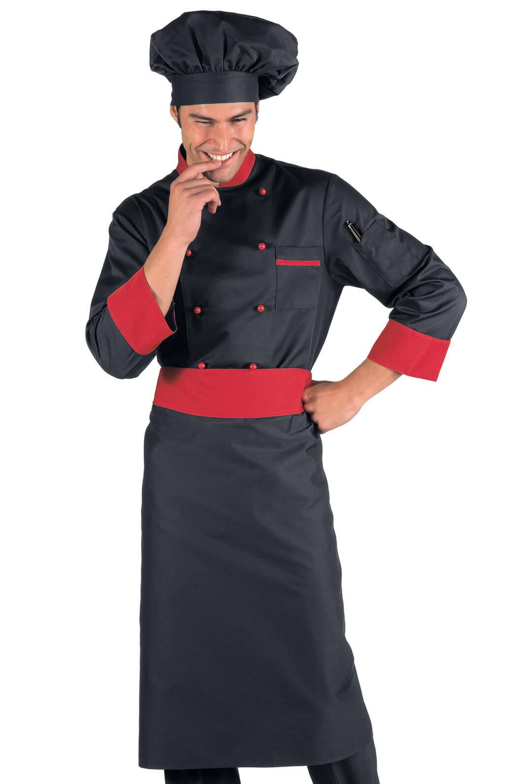 Veste de cuisine noir et rouge