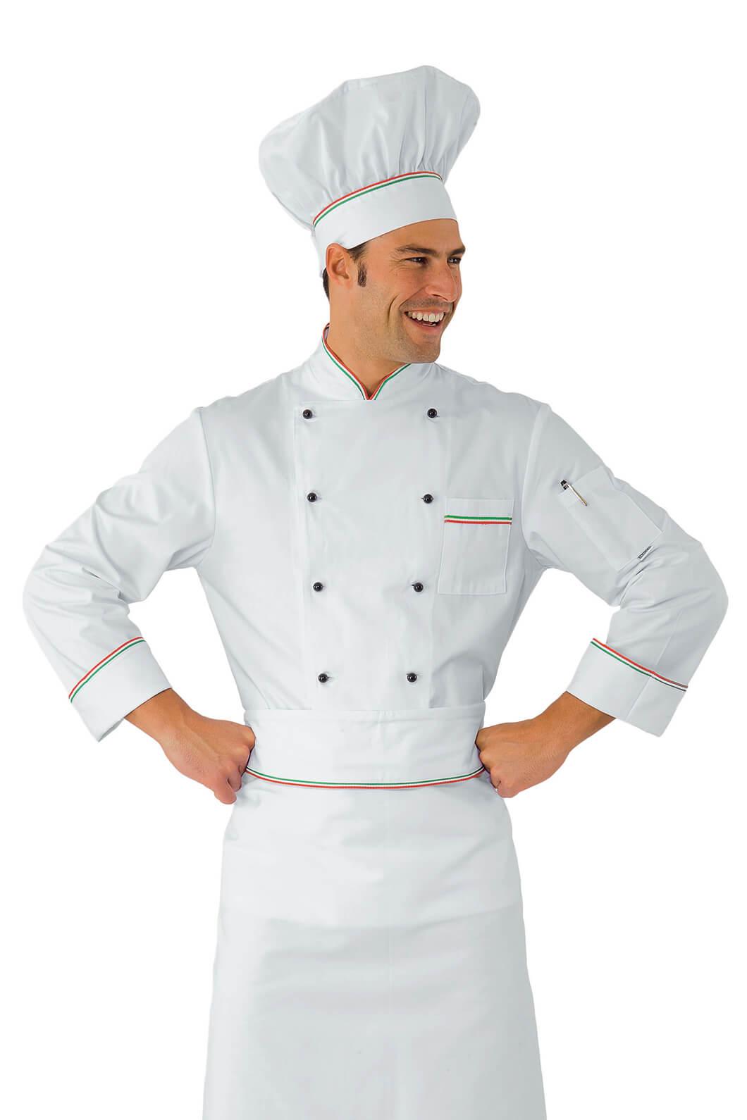 Veste chef cuisinier prestige blanc liser tricolore 100 for Cuisinier 71