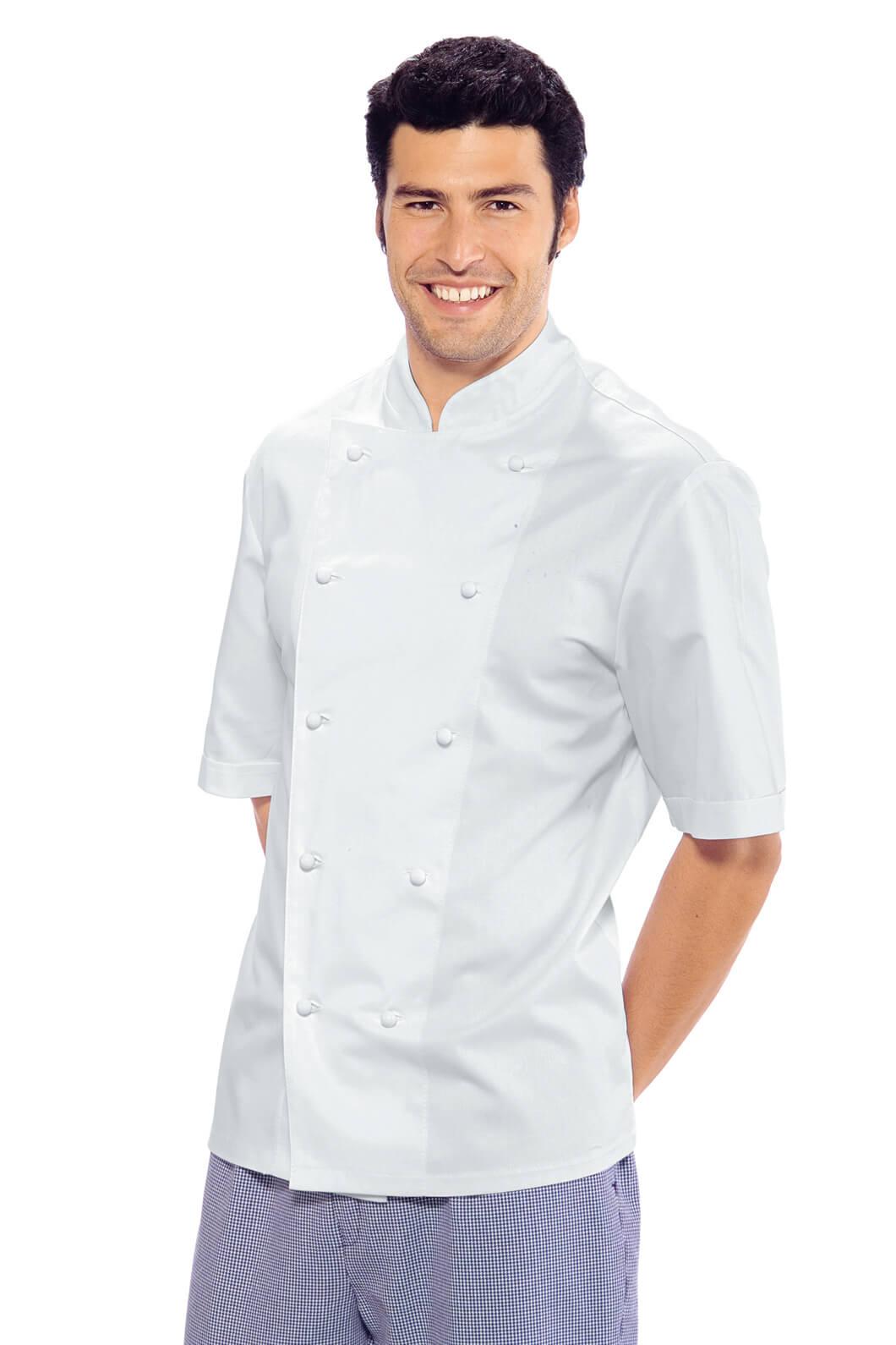 Veste chef cuisinier blanche manches courtes roma for Cuisinier 71