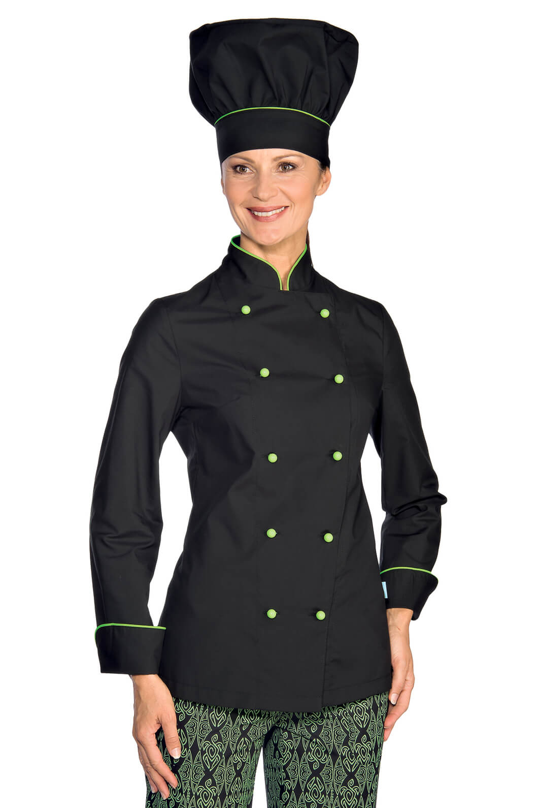 veste de cuisine femme ultra l g re noir liser vert pomme vestes de cuisine femme. Black Bedroom Furniture Sets. Home Design Ideas
