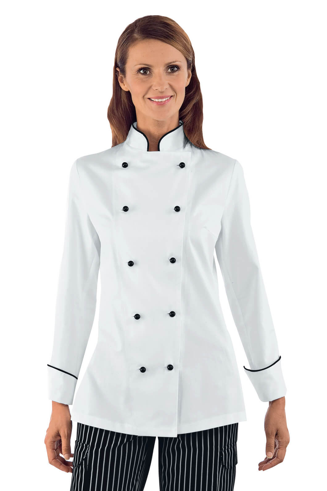 veste de cuisine femme granchef blanc liser noir 100 coton. Black Bedroom Furniture Sets. Home Design Ideas